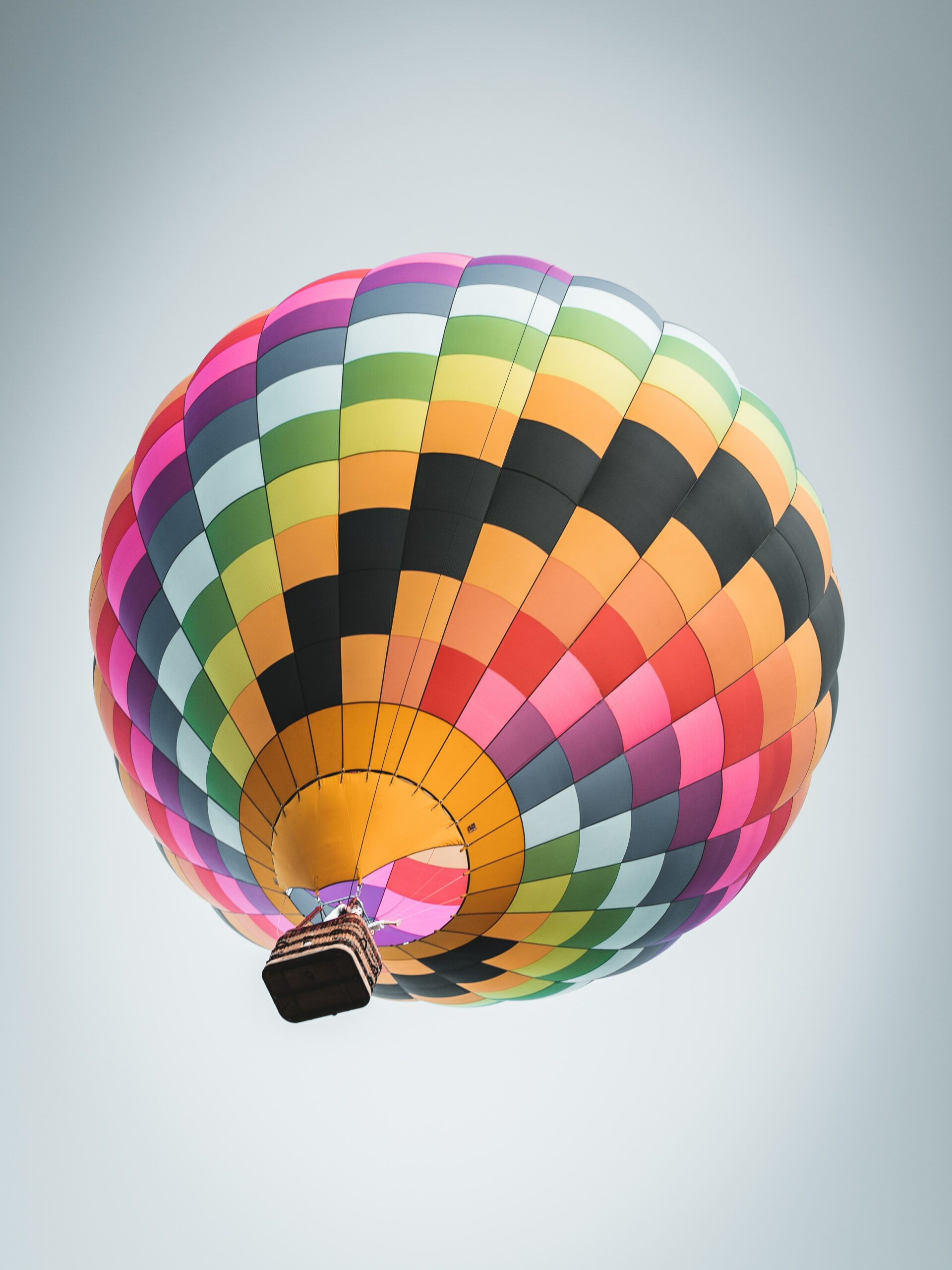 Hot-air balloon rising up into the sky
